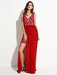 Women's Deep V Neck Sexy Lace Stitching Chiffon Sleeveless Maxi Dress