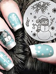 2016 dernier modèle de bonhomme de neige noël version fashion nail art estampage des plaques de modèle d'image