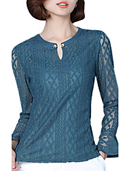 Spring Fall Women's Plus Size Go out Fashion Wild Solid Color Round Neck Speaker Long Sleeve Lace Blouse