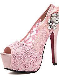 Damen-High Heels-Lässig-Spitze-Stöckelabsatz-Komfort-Rosa / Mandelfarben