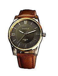 348 YAZOLE Fashion Men's Business Dress Watch Leather Strap Blue Ray Glass Analog Quartz Wrist Watches