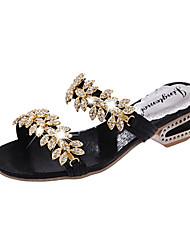 Damen Sandalen Komfort PU Sommer Normal Komfort Kristall Perle Blockabsatz Schwarz Silber Golden 2,5 - 4,5 cm