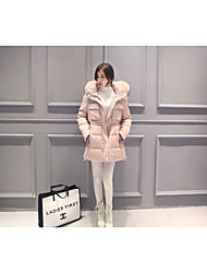 Women's Long Down Coat,Simple Casual/Daily Solid-Others White Duck Down Long Sleeve Hooded