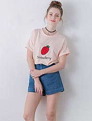 Damen Stickerei Niedlich Ausgehen T-shirt,Rundhalsausschnitt Sommer Kurzarm Rosa Polyester Mittel