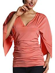 Damen Solide Einfach / Street Schick Ausgehen / Lässig/Alltäglich T-shirt,V-Ausschnitt Frühling / Herbst ¾-Arm Rot / Weiß Polyester Mittel