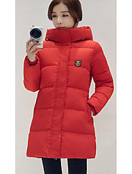 Women's Regular Down Coat,Simple Casual/Daily Solid-Polyester White Duck Down Long Sleeve Black / Green