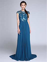 Sheath / Column Jewel Neck Sweep / Brush Train Chiffon Sequined Evening Dress with Side Draping Ruching by TS Couture®