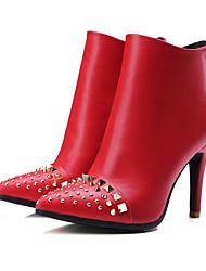 Черный / Красный-Женский-На каждый день-Полиуретан-На шпильке-Военные ботинки / Ботинки-Ботинки
