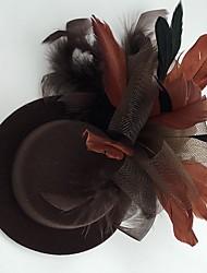 Mujer Pluma Tejido Red Celada-Boda Ocasión especial Casual Tocados Sombreros 1 Pieza