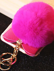 Car Key Diamond Hair Ball Bow Keychain Lovely Ladies Bag Pendant