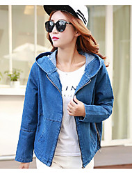 Women's Casual/Daily Street chic Denim Jackets,Solid Round Neck Long Sleeve Spring / Fall Blue Cotton / Polyester