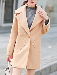 Women's Formal / Work Punk & Gothic / Sophisticated CoatSolid Notch Lapel Long Sleeve Fall / Winter Brown Cotton