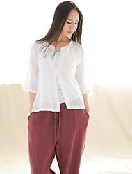 Feminino Camisa Casual Simples Todas as Estações,Sólido Branco Linho Decote Redondo Manga ¾ Fina