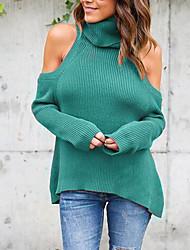 Damen Solide Sexy / Niedlich Ausgehen / Lässig/Alltäglich / Formal T-shirt,Rollkragen Langarm Blau / Rot / Braun / Grün Polyester