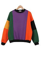 Sweatshirt Femme Décontracté / Quotidien Actif simple Couleur Pleine Col Arrondi Elastique Coton Manches Longues Automne Hiver