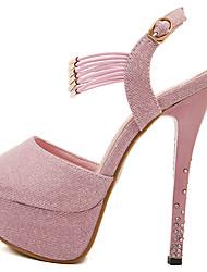 Feminino Sandálias Sapatos clube Courino Verão Casual Gliter com Brilho Salto Agulha Cinzento Escuro Rosa claro 10 a 12 cm