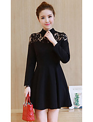 New autumn Korean version improved cheongsam collar Slim bottoming lace long-sleeved dress was thin Peng