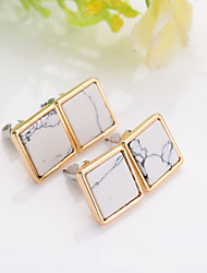 New arrival trendy gold fashion square geometric marbled white faux stone stud earrings for women