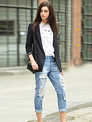 I'HAPPY Women's Solid Blue Jeans PantsPunk & Gothic Spring / Fall