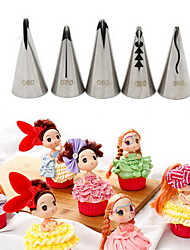 5PCS Stainless Steel Russian Nozzles Pastry Bobbi Skirt Cake Nozzles Decoration Piping  Wedding Cake Decorating Icing