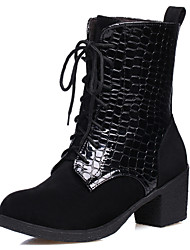 Women's Boots Spring / Summer / Fall Combat Boots Dress Chunky Heel Split Joint / Lace-up Black / Blue / Red Others