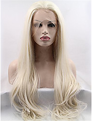 Blonde Glueless Synthetic Hair Lace Front Wigs Natural Straight Synthetic Wig for Fashion Women