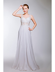 Formal Evening Dress A-line Straps Floor-length Chiffon / Lace with Crystal Detailing