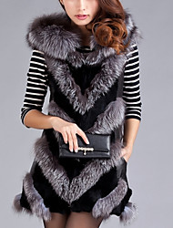 Women's Casual/Daily Simple Fur Coat,Solid Long Sleeve Gray Faux Fur