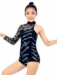 Leotards Performance Spandex / Sequins 2 Pieces Latin Dance Sleeveless / Long Sleeve Natural Leotard / Hair Band