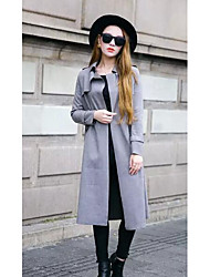Women's Casual/Daily Simple Coat,Solid Long Sleeve Winter Brown / Gray Special Leather Types Medium