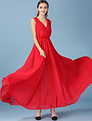 1287 Women's Going out / Casual/Daily Simple Chiffon DressSolid V Neck Sleeveless Red Polyester / Others All