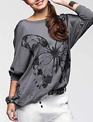 Damen Druck Einfach Lässig/Alltäglich T-shirt,Rundhalsausschnitt Herbst / Winter Langarm Rosa / Grau Polyester Mittel