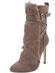 Women's Boots Spring / Fall / Winter Fashion Boots Fur Party & Evening / Casual Stiletto Heel Khaki Snow Boots