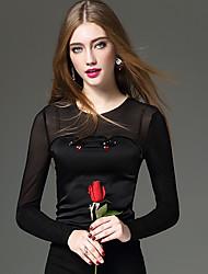 Mujer Sexy / Simple / Chic de Calle Noche / Casual/Diario / Trabajo Primavera / Otoño Camiseta,Escote Redondo Un Color / Retazos / Bordado