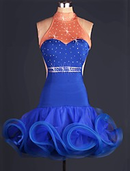 Latin Dance Dresses Women's Performance Polyester Organza Crystals Rhinestones Pleated Latin Dance Blue
