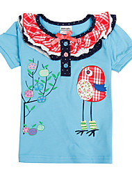 Kids T shirt Short Sleeve Cartoon Birds Embroidery Children Girl Tees (Random Printed)