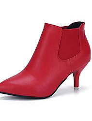 Черный Красный-Женский-Повседневный-Полиуретан-На шпильке-Удобная обувь-Ботинки
