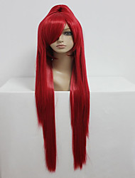 Gurren Lagann 100cm Long Straight Ponytail Red High Quality Synthetic Cosplay Party Wig