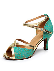 Customizable Women's Dance Shoes Sparkling Glitter Sparkling Glitter Latin Sandals Stiletto HeelPractice / Beginner / Professional /