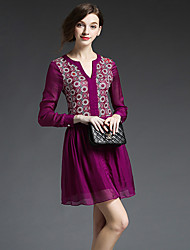 GATHER BEAUTY Women's Going out Simple A Line DressPrint V Neck Above Knee Long Sleeve Purple Polyester Fall High Rise Inelastic Medium