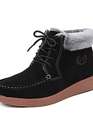 Women's Boots Spring Fall Winter Platform Other Suede Fur Casual Platform Bowknot Zipper Black Blue Other