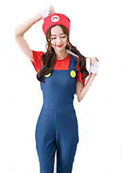 Cute Jumpsuit Anime/Videogame For Super Mario Costume Adults Women Plumber Cosplay