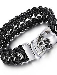 Kalen Men's Woven Leather Bracelets Punk 316 Stainless Steel Huge Skull Head Bracelets Bangles Rock Jewelry Male Rock Accessories