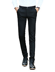 Men's Slim Chinos Pants,Casual/Daily / Work Simple Solid Split Low Rise Zipper / Button Cotton Micro-elastic Fall / Winter