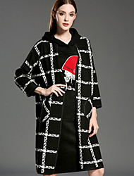 INPLUS LADY Women's Casual/Daily Vintage CoatPlaid Round Neck  Sleeve Winter Black Wool / Polyester Medium