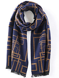 Men Faux Fur Scarf,Casual RectanglePrint