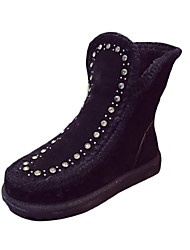 Women's Boots Winter Comfort PU Casual Flat Heel Beading Black Purple Walking