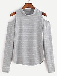 Damen Gestreift Sexy T-shirt,Ständer Frühling Langarm Weiß / Grau Baumwolle Undurchsichtig / Mittel