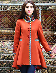 Our Story Women's Casual/Daily Boho CoatPrint Turtleneck Long Sleeve Winter Orange Wool / Polyester