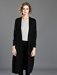 INPLUS LADY Women's Casual/Daily Simple CoatSolid Long Sleeve Winter Black Rayon / Acrylic / Polyester Thick
